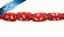 Dyed Bone Tube Red 6-7mmx9-10mm~8""
