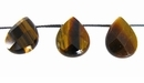 Tiger Eye Faceted Flat Briolette Beads 12x16mm