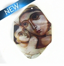 River Shell Madonna Decal pendant 30x40mm