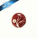 Makabibi Round 20mm Flower Laser Design Wine Red