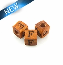 "Alphabet ""F"" wood bead bayong 8mm square"