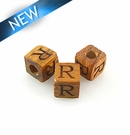 "Alphabet ""R"" wood bead bayong 8mm square"