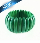 Bleach White Wood Stretch Bracelet Green 10x47mm~8 inches