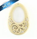 Whitewood Carved Drop Pendant 30x50mmx4mm Thick