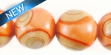 Painted Wood Round Swirl Peach 15mm