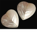 Silver Mouth Heart Shell Beads 22mm