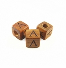 "Bayong Alphabet Wood Bead 8mm ""A"""