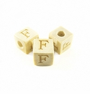 "Whitewood Alphabet Wood Bead 8mm ""F"""