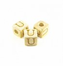 "Whitewood Alphabet Wood Bead 8mm ""U"""