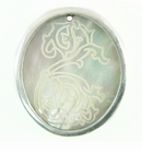Makabibi Oval Shell Seahorse Etched Aluminum Framed
