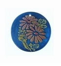 Blue Capiz Round Laminated Daisy Flower 30mm