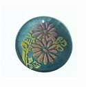 Khaki Green Round Capiz Laminated Daisy Flower 30mm