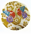 Makabibi Round Painted Embossed Multi  Butterfly Pendant