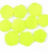 Yellow Green Flower Hammershell Beads 10mm