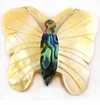 Mother Of Pearl & Paua Carved Butterfly Shell Pendants