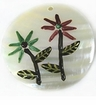 Green/Burgundy Flower-Etched Makabibi Round Pendants