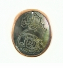 Blacklip Oval Shell Seahorse Etched Copper Plated Framed