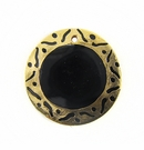 Round Carved Gold Frame Tab Shell 30mm