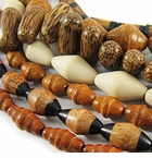 Bicone, Football & Cylinder Wood Beads