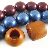Metallic Round & Roundel Wood Beads
