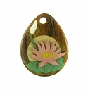 Drop Wood Pendant - Tropical Waterlily Flower Design