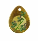 Drop Wood Pendant - Japanese Bush Clover Flower Design