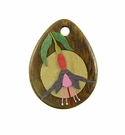 Drop Wood Pendant-Fuschia Flower Design