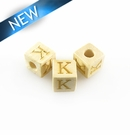 "Alphabet ""K"" white wood bead 8mm square"