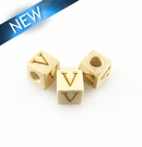 "Alphabet ""V"" white wood bead 8mm square"