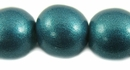Metallic Turquoise Round Wood Beads 15mm