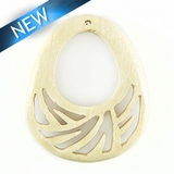 Whitewood Carved Drop Pendant 35mm x 50mm x 4mm thick