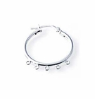 Sterling Silver Click-down Hoop Earring Findings 25mm