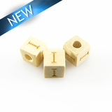 "Alphabet ""I"" white wood bead 8mm square"