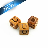 "Alphabet ""U"" wood bead bayong 8mm square"