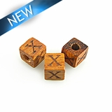 "Alphabet ""X"" wood bead bayong 8mm square"