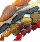 Leaf, Heart & Half Moon Horn Beads