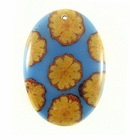 Sunflower Vine Inlay Oval Blue 50x35mm