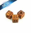 "Alphabet ""B"" wood bead bayong 8mm square"