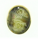 Blacklip Oval Shell Seahorse Etched Gold Plated Frame
