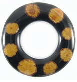 Sunflower Vine Inlay Donut Black 60mm