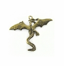 "Metal Casted ""Dragon"" Design Brass Charm 34x41mm"
