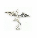 Metal Casted Dragon Design Silver 34x41mm