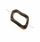 Angular O' Ring Tiger Ebony Wood Pendant 35x50mm