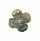 Blacklip Shell Carved Flower 4-Petal Design Pendant