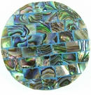 Paua (Blocking On Blue) Round Shell Pendant  40mm