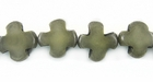 Dark Olive Green Buri Cross Bead 10mm
