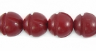 Red Polished Buri Carved Round Beads 10mm