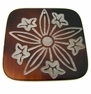 "Laser-etched Square ""Flare daffodils"" Tab Shell Pendant"