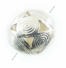 Round Silver Metal Bead w/ Coil Wire Design 19x22mm