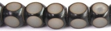 Black & White Buri Cube Beads 10mm